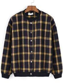 Round Neck Plaid Buttons Jacket