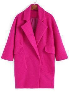 Lapel Pockets Long Rose Red Coat