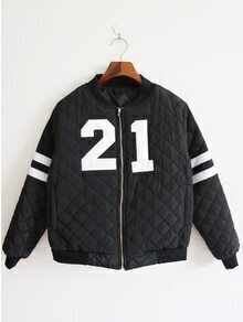 Striped Number Patch Zipper Black Jacket