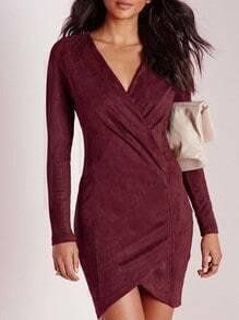 Burgundy Long Sleeve V Neck Bodycon Dress