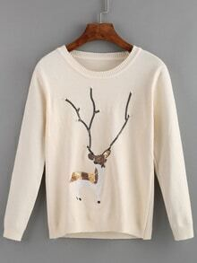 Sequined Deer Patterned Apricot Sweater