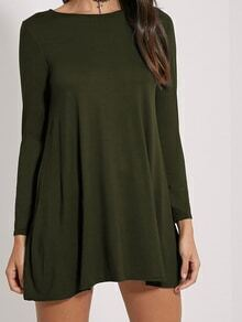 Long Sleeve Shift Army Green Dress