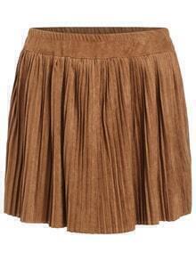 Elastic Waist Pleated Khaki Skirt
