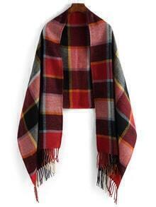 Plaid Fringe Red Scarf