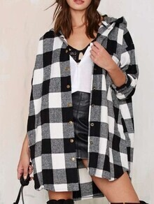 Hooded Plaid Buttons Long Coat