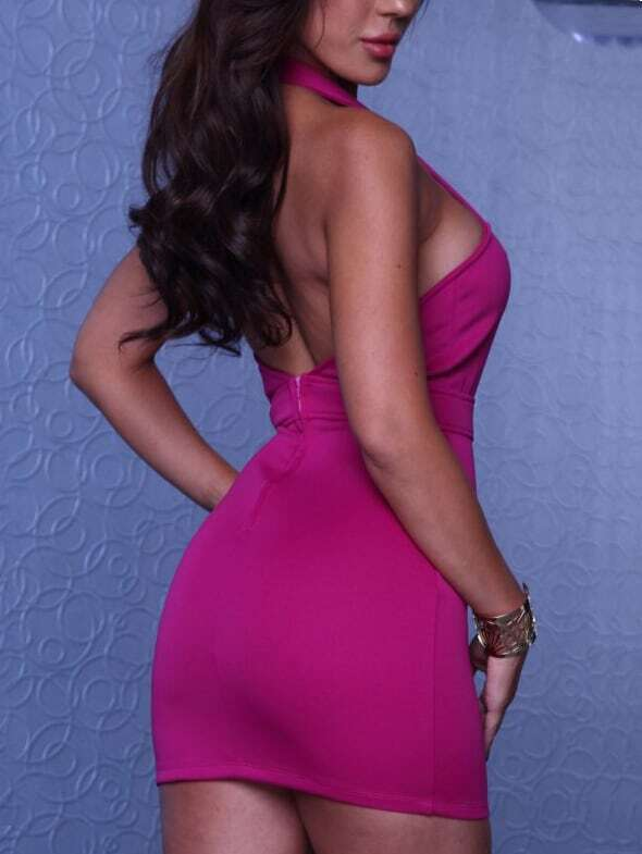 Halter Backless Hollow Bodycon Pink Dress