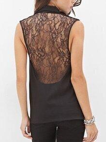 Lapel Single Buttons Long Black Vest