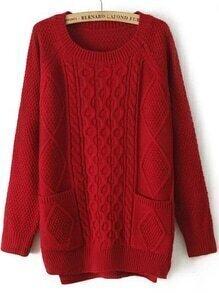 Diamond Patterned Pockets High Low Burgundy Sweater
