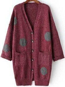 Polka Dot Buttons Pockets Long Burgundy Cardigan