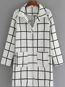 Lapel Plaid Pockets Long Coat