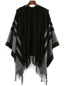 Hooded Vertical Striped Tassel Poncho