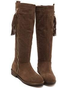 Brown Round Toe Zipper Tassel Boots