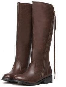 Brown Zipper Fringe Tall Boots