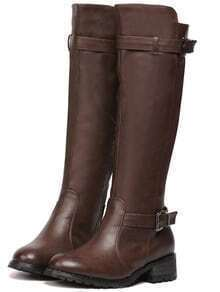 Brown Round Toe Buckle Strap Tall PU Boots