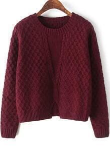 Round Neck Slit Loose Burgundy Sweater