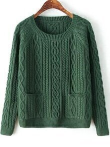 Diamond Patterned Pockets Dark Green Sweater