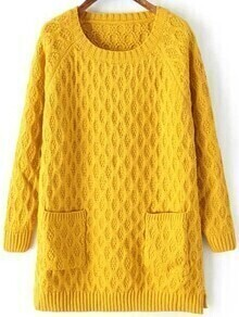 Round Neck Pockets Long Yellow Sweater