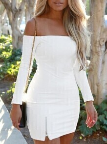 Off The Shoulder Zipper Bodycon Dress