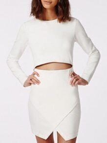 Long Sleeve Zipper Wrapped White Dress