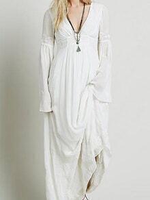 Deep V Neck Embroidered Maxi Beige Dress