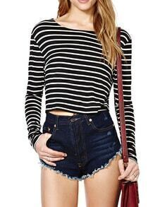 Black Long Sleeve Striped Crop T-Shirt