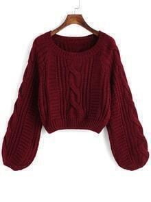 Round Neck Crop Maroon Sweater