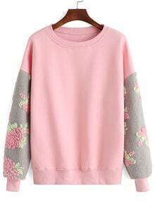 Round Neck Contrast Sleeve Crochet Sweatshirt