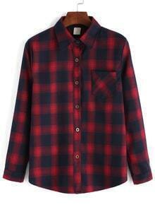 Lapel Plaid Pocket Buttons Red Blouse