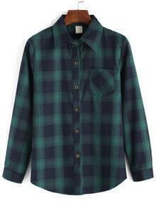 Lapel Plaid Pocket Buttons Green Blouse