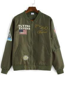 Letter Embroidered Patch Army Green Jacket
