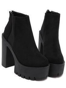Black Thick-soled Elastic Boots