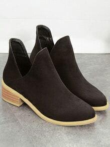 Black Round Toe Cutout Boots