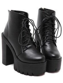 Black Lace Up Thick-soled Boots