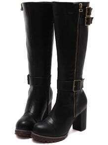 Black Zipper Buckle Strap High Heeled Boots