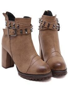 Brown Buckle Strap Studded High Heeled Boots