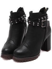 Black Buckle Strap Studded High Heeled Boots
