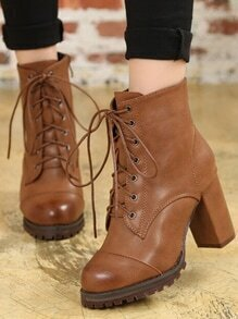 Brown Lace Up PU High Heeled Boots