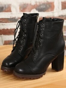 Black Lace Up PU High Heeled Boots