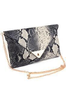 Grey Twist Lock Serpentine Chain Bag