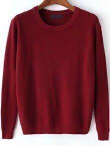 Round Neck Long Sleeve Burgundy Sweater