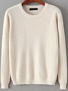 Round Neck Long Sleeve Apricot Sweater