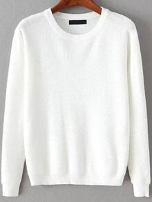 Round Neck Long Sleeve White SweaterFor Women-romwe