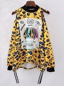Letter Print Leopard Hollow Sweatshirt