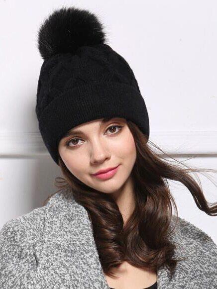 chapeau tricot avec ballon noir french romwe. Black Bedroom Furniture Sets. Home Design Ideas
