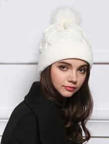 Cable Knit Pom White Hat