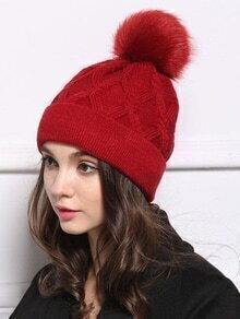 Cable Knit Pom Maroon Hat