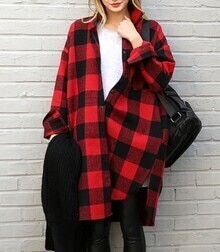 Lapel Plaid Buttons Long Blouse