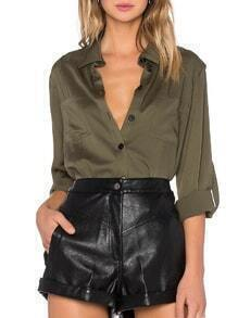Lapel Buttons Pockets Army Green Blouse