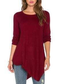 Long Sleeve Asymmetrical Burgundy T-shirt