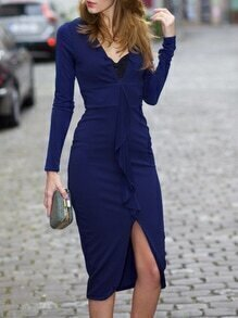 Blue Deep V Neck Split Dress